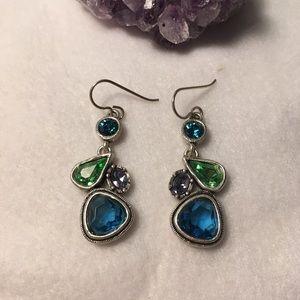 Earrings Blue, Green and Purple